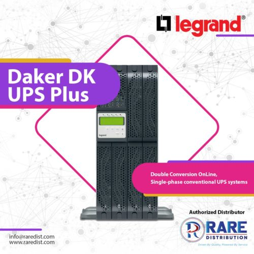 Legrand Daker DK UPS Plus is a single-phase uninterruptible power supply with high-frequency PWM technology, Double Conversion Online.